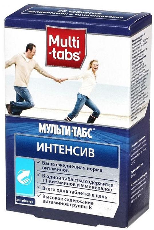 Мульти-табс Интенсив таблетки №30216131Мульти-табс Интенсив предназначен для снижения чувства усталости, обеспечения нормального обмена веществ, для нормализации психологического состояния. В его состав в дозировке, превышающей рекомендованную суточную дозу, входят все витамины группы В, которые являются водорастворимыми и должны поступать в организм ежедневно. Поддержанию иммунитета способствует содержание в составе комплекса витаминов С и D в необходимых концентрациях. Сфера применения: ВитаминологияМакро- и микроэлементы