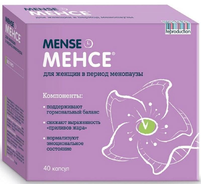 Менсе капсулы №40222409Восполняет дефицит витаминов и биологически активных веществ. Содержит компоненты, которые:нормализуют гормональный баланс, восполняя недостаток собственных эстрогенов;купируют приливы жара уже в первые 30 мин после приема;снижают частоту проявлений неприятных симптомов менопаузы;нормализуют эмоциональное состояние и поддерживают хорошее настроение.Внутрь. Взрослым по 1 капс. 1–2 раза в день. Продолжительность приема — 1 мес. Сфера применения: Акушерство и гинекологияГормональное