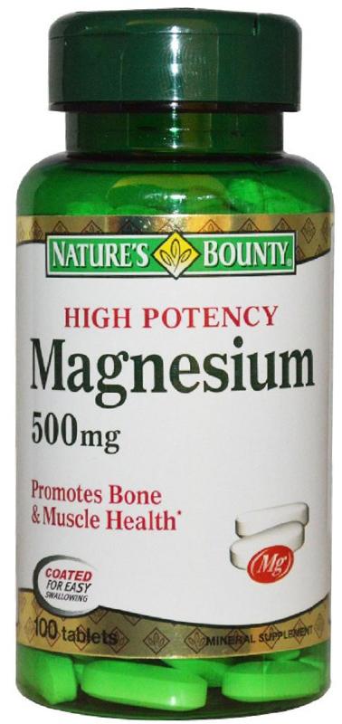 Нэйчес Баунти Магний 500 мг таблетки №100223556Магний является одним из основных минералов, необходимых для нормальной работы сердца, нервной системы, мышц, от него во многом зависит нормальная жизнедеятельность клеток. Если рацион питания беден овощами, зеленью, имеют место вредные привычки, то со временем может развиться дефицит этого вещества. Первейшим признаками дефицита магния являются подавленное настроение, депрессия, повышенная утомляемость, появление судорог в конечностях и бессонница. Сфера применения: ВитаминологияМакро- и микроэлементы