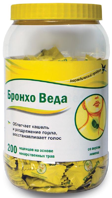 Бронхо Веда леденцы травяные №200 (со вкусом лимона)223901БРОНХО ВЕДА (Травяные леденцы со вкусом лимона) - леденцы на основе лекарственных трав, созданные по канонам Аюрведической медицины; облегчают кашель и раздражение горла, восстанавливают голос. Сфера применения: ОториноларингологияПротив гриппа и простуды