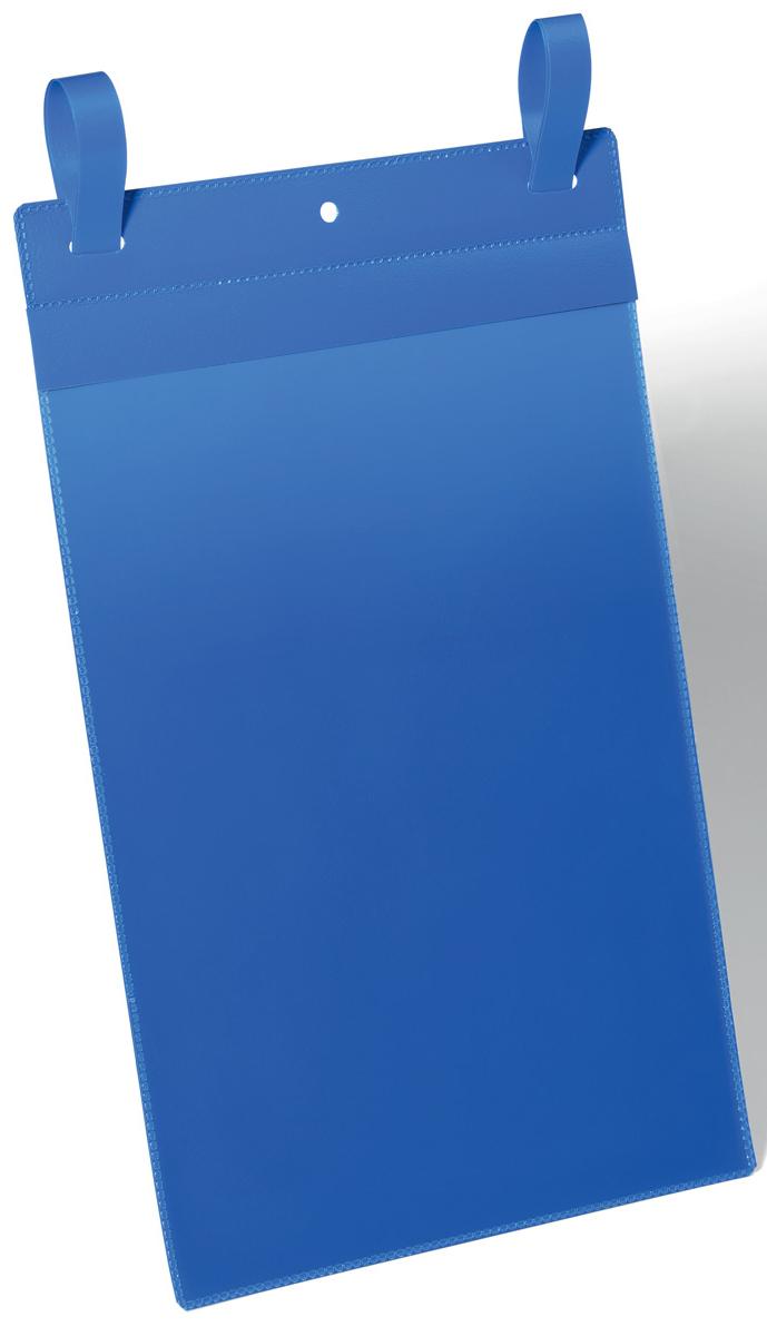 Durable Карман с ремешком-застежкой цвет синий 1750-071750-07Карман с ремешком-застежкой отлично подходит для использования в складских помещениях и торговых центрах. Благодаря специальному клапану, защищающему вкладыш от осадков и пыли, может использоваться на улице. Надежно фиксируется на транспортных контейнерах с обрешеткой. Даже при резких движениях карман остается на своем месте. Синяя подложка и прозрачное окошко выполнены из износостойкого полипропилена. Не бликует, что удобно для сканирования, не вынимая документ. Быстрая и удобная замена вкладыша. Для оформления вкладыша воспользуйтесь бесплатной программой DURAPRINT Внутренние размеры: A4 вертикальный Внешние размеры: 223 x 537 мм (Ш x В) Упаковка: 50 шт.