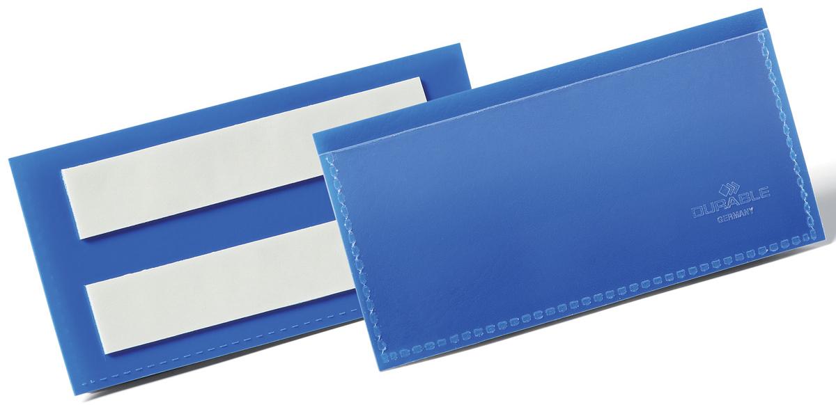 Durable Карман cамоклеящийся для маркировки цвет синий 1759-071759-07Карман Durable для маркировки с двумя клейкими полосами на тыльной стороне. Выполнен из плотного износостойкого полипропилена. Быстрая удобная замена информационного вкладыша. Возможность сканирования документа без изъятия из кармана. Рекомендован к применению в складских и логистических комплексах для маркировки паллет, контейнеров, стеллажей.Размер вкладыша: 10 x 3,8 см.Размер кармана: 11,3 x 5,3 x 1,7 см.