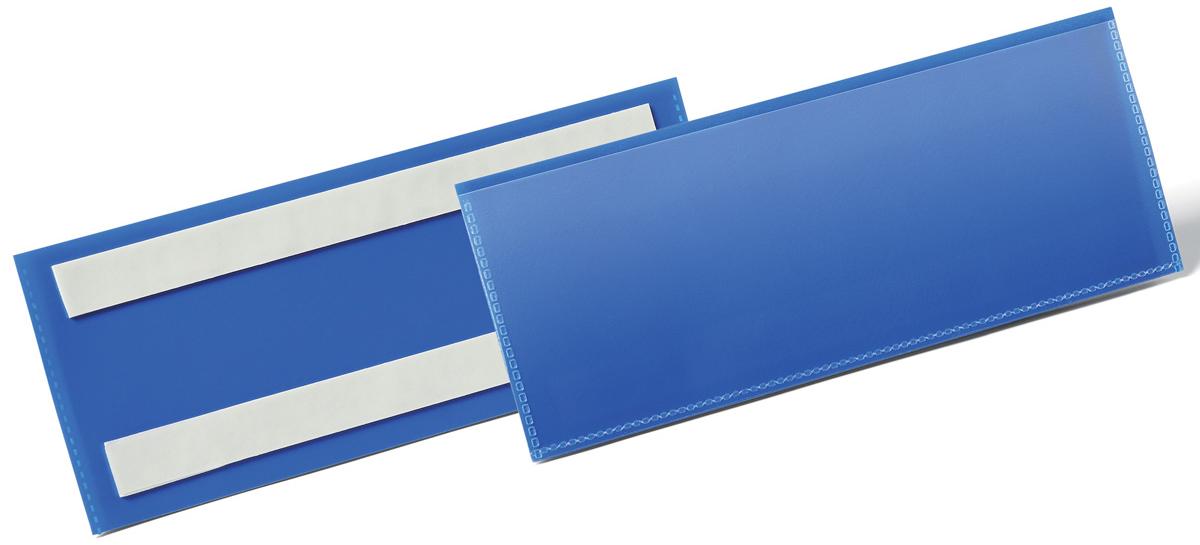 Durable Карман cамоклеящийся для маркировки цвет синий 1794-071794-07Карман для маркировки с двумя клейкими полосами на тыльной стороне. Выполнен из плотного износостойкого полипропилена. быстрая удобная замена информационного вкладыша. Возможность сканирования документа без изъятия из кармана. Рекомендован к применению в складских и логистических комплексах для маркировки паллет, контейнеров, стеллажей.Готовые шаблоны вкладышей в бесплатной программе www.duraprint.eu.Размеры вкладыша: 1/2 A5 горизонтальный (210 x 74 мм)Размеры кармана: 223 x 81,5 x 1,7 мм