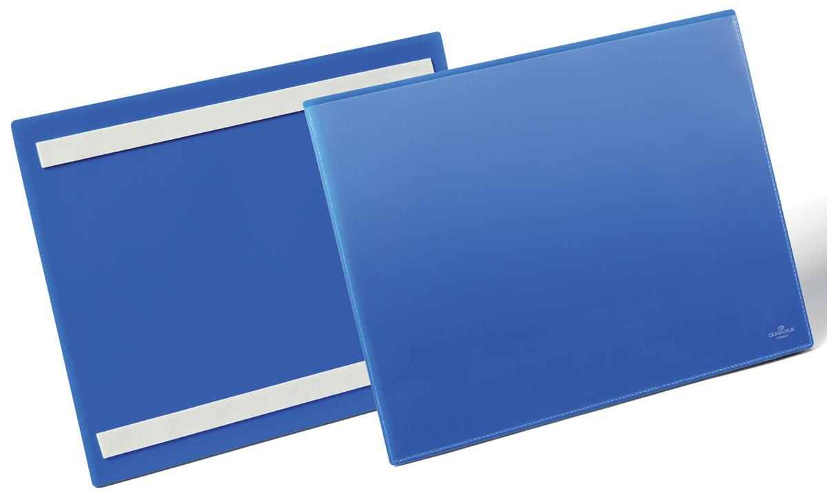 Durable Карман cамоклеящийся для маркировки цвет синий 1798-071798-07Самоклеящийся карман с двумя клейкими полосами на тыльной стороне. Выполнен из плотного износостойкого полипропилена. Прозрачное окно на лицевой стороне не бликует, что позволяет сканировать документ, не извлекая его из кармана.Рекомендован для маркировки паллет, стеллажей, контейнеров и т.д.Готовые шаблоны вкладыша в бесплатной программе www.duraprint.eu.Размеры вкладыша: A4 горизонтальный (311 x 225 x 1,7 мм)Размеры кармана: 297 x 210 мм
