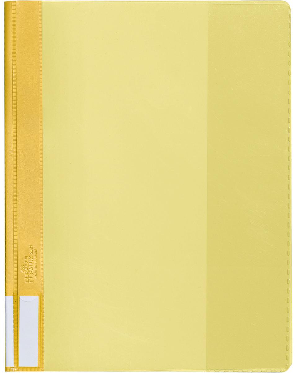 Durable Папка-скоросшиватель А4 цвет желтый2681-04Папка-скоросшиватель из прочного ПВХ с жесткой верхней обложкой. На задней обложке карман для бумаг. На корешке место для маркировки. Может служить подвесной папкой при наличии подвесной шины.