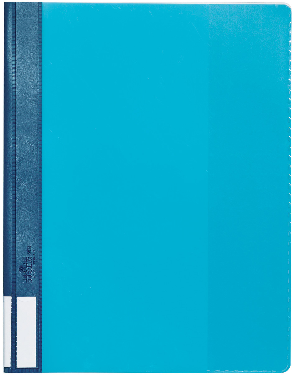 Durable Папка-скоросшиватель А4 цвет голубой2681-06Папка-скоросшиватель Durable из прочного ПВХ с жесткой верхней обложкой. На задней обложке карман для бумаг. На корешке место для маркировки. Может служить подвесной папкой при наличии подвесной шины арт. 1531.