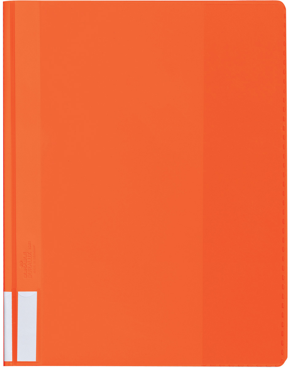 Durable Папка-скоросшиватель А4 цвет оранжевый2681-09Папка-скоросшиватель из прочного ПВХ с жесткой верхней обложкой. На задней обложке карман для бумаг. На корешке место для маркировки. Может служить подвесной папкой при наличии подвесной шины арт. 1531.
