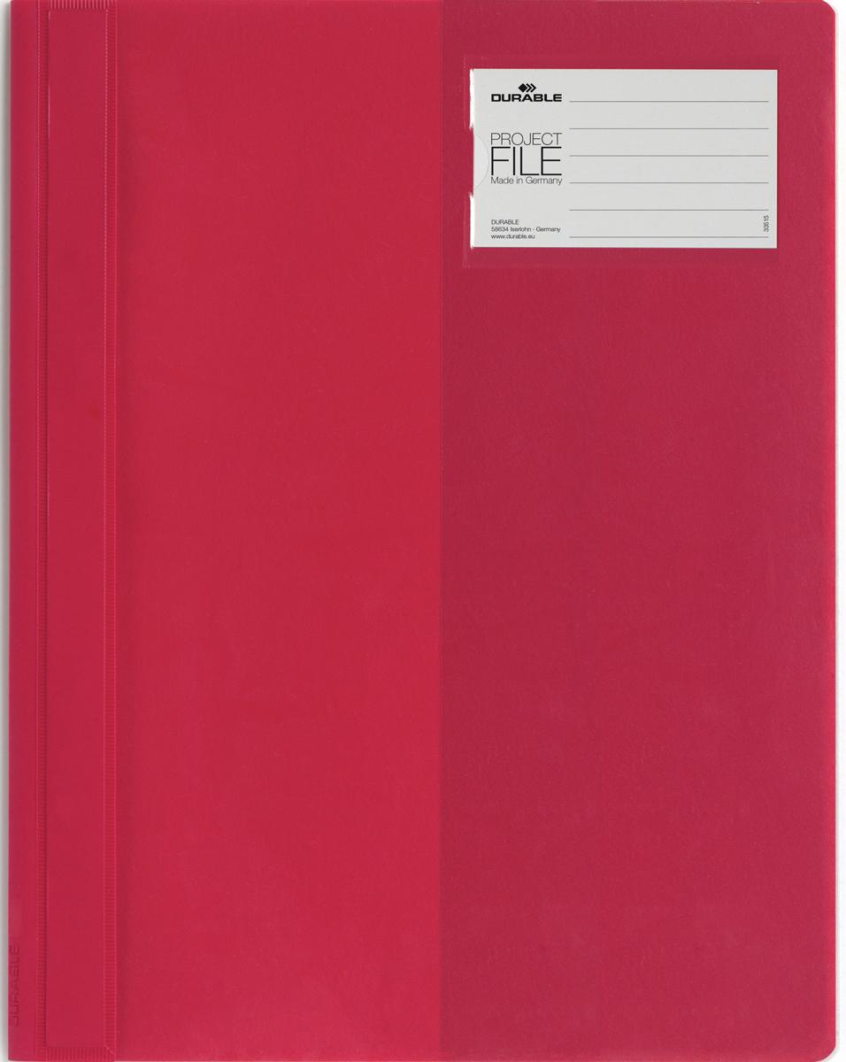 Durable Папка-скоросшиватель для проектов Project File цвет красный2745-03Папка-скоросшиватель для проектов. Прозрачная верхняя обложка выполнена из износостойкого пластика, имеет карман для титульного листа. Дополнительный карман для визитной карточки.