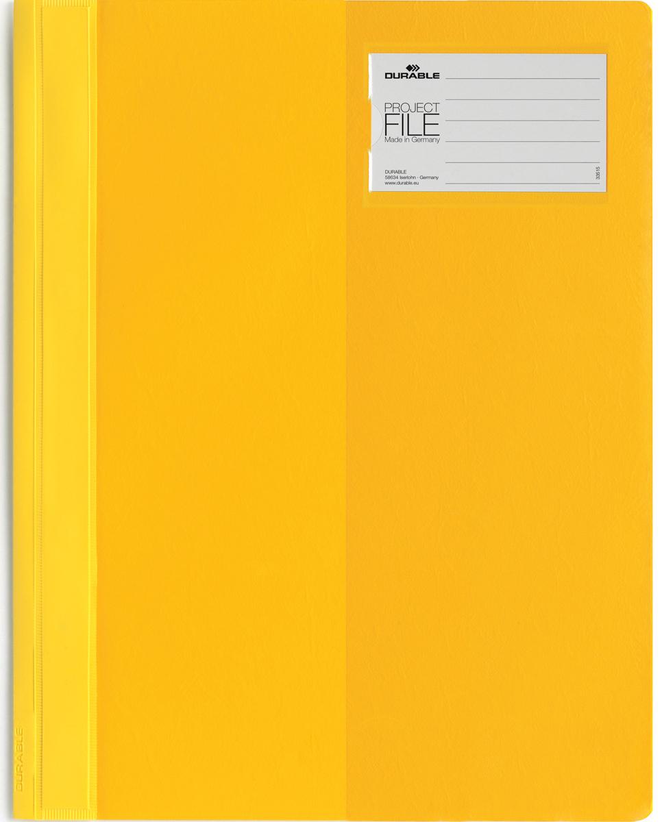 Durable Папка-скоросшиватель для проектов Project File цвет желтый2745-04Папка-скоросшиватель для проектов Durable Project File. Прозрачная верхняя обложка выполнена из износостойкого пластика, имеет карман для титульного листа. Дополнительный карман для визитной карточки.