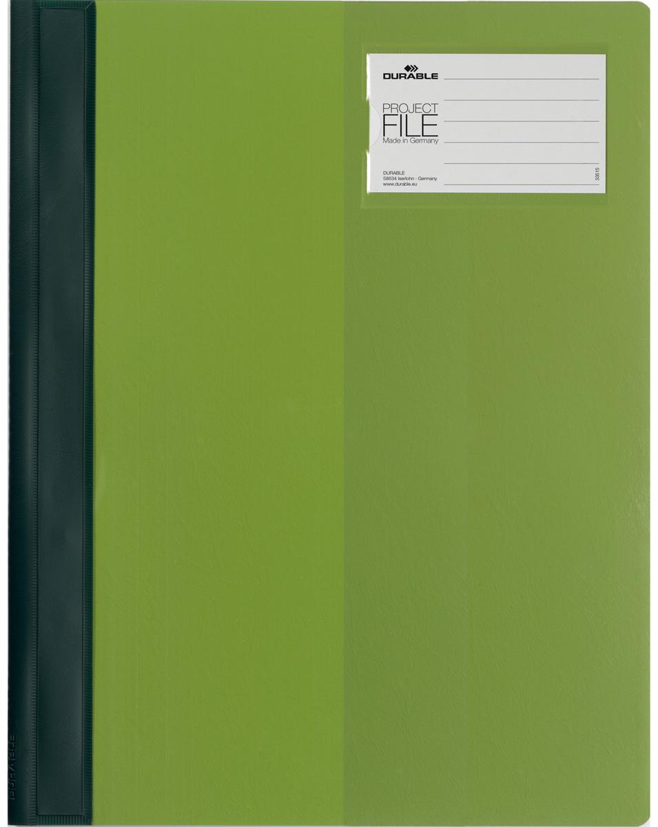 Durable Папка-скоросшиватель для проектов Project File цвет зеленый2745-05Папка-скоросшиватель для проектов. Прозрачная верхняя обложка выполнена из износостойкого пластика, имеет карман для титульного листа. Дополнительный карман для визитной карточки.