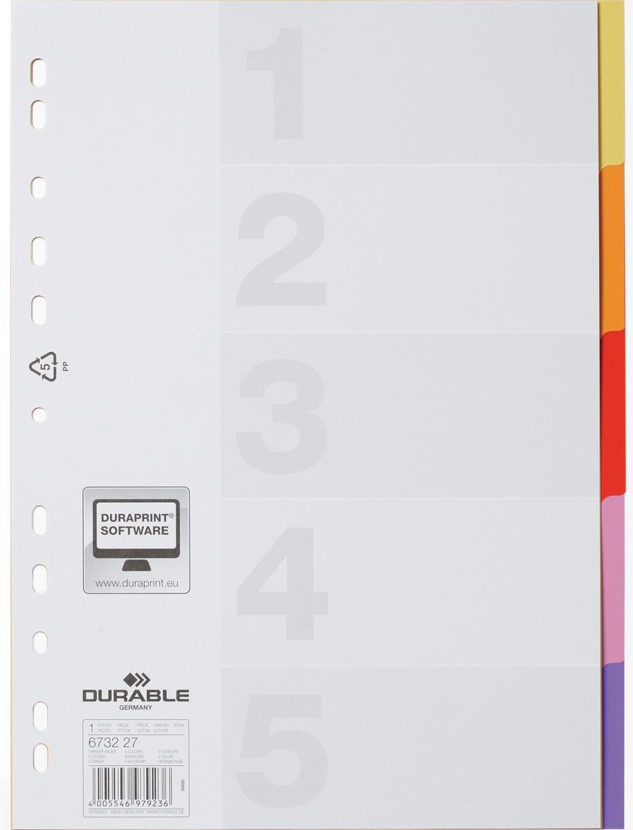Durable Разделитель Varicolor A4 5 секций6732-27Разделители для документов VARICOLOR®, 5 цветных секций. Совместим с папками-регистраторами, папками с кольцевым механизмом. В комплекте чистый титульный лист для дополнительной маркировки.Формат А4, вертикальный.Универсальная перфорация.