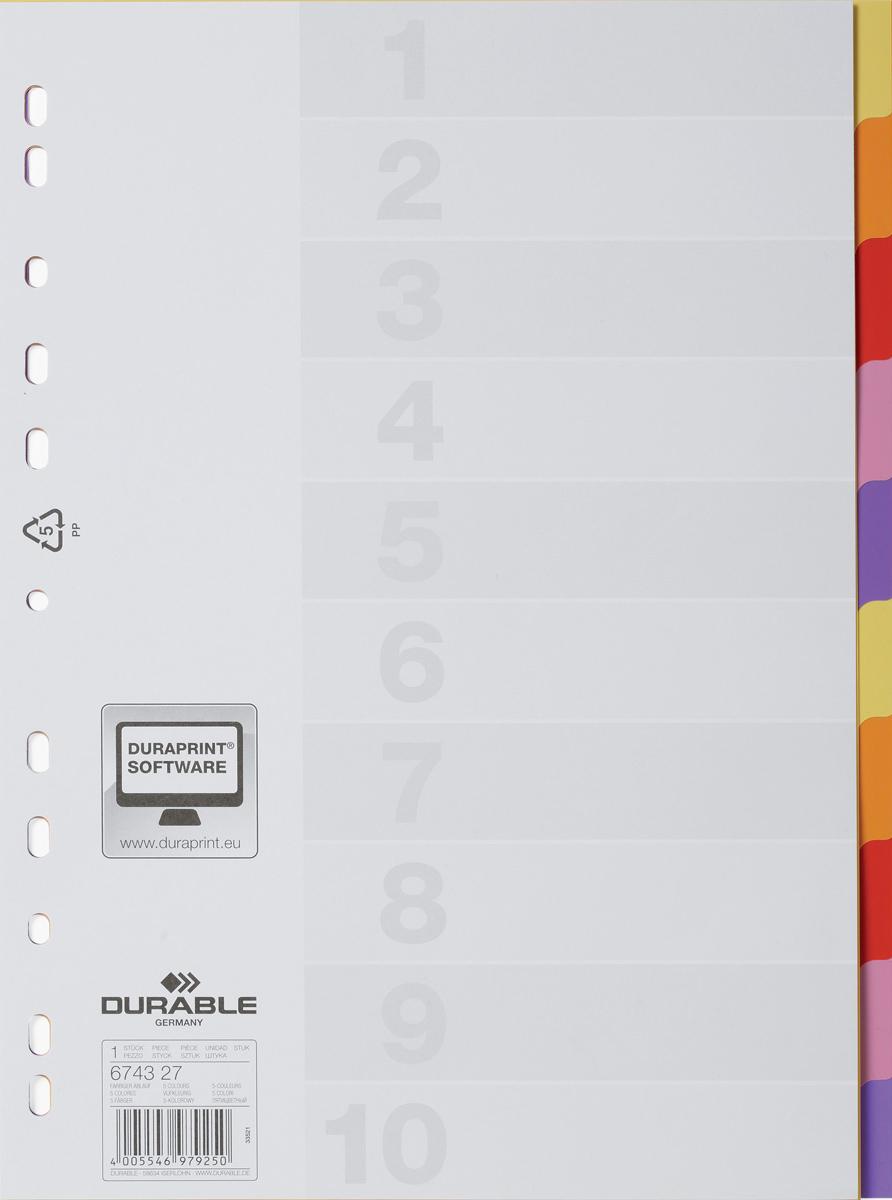 Durable Разделитель Varicolor A4 10 секций6743-27Разделители для документов VARICOLOR®, 10 цветных секций. Совместим с папками-регистраторами, папками с кольцевым механизмом. В комплекте чистый титульный лист для дополнительной маркировки.Формат А4, вертикальный.Универсальная перфорация.