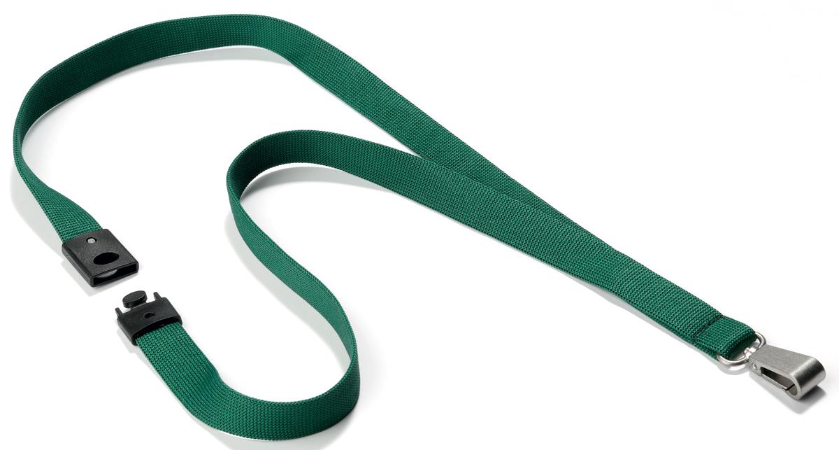 Durable Шнур для бейджа цвет темно-зеленый8127-32Тесьма для бейджа премиального качества для бейджей и держателей для пропусков. Мягкая шелковая фактура. Металлический карабин шириной 12 мм обеспечивает надежную фиксацию. Имеет безопасный замок, открывающийся при небольшом физическом воздействии.Благодаря этому тесьма может использоваться на производстве. Шнур отлично подходит для применения на масштабных мероприятиях, а также для повседневного использования в офисеПлотное плетение - возможность персонализации (т.е. использования под нанесение).Ширина - 15 мм, длина - 440 мм