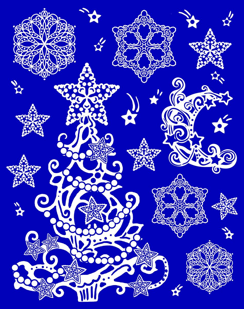 Украшение новогоднее оконное Magic Time. 4175341753Новогоднее оконное украшение выполнено из ПВХ пленки, декорировано глиттером. Крепится к гладкой поверхности стекла посредством статического эффекта.Размер: 30 х 38 см.