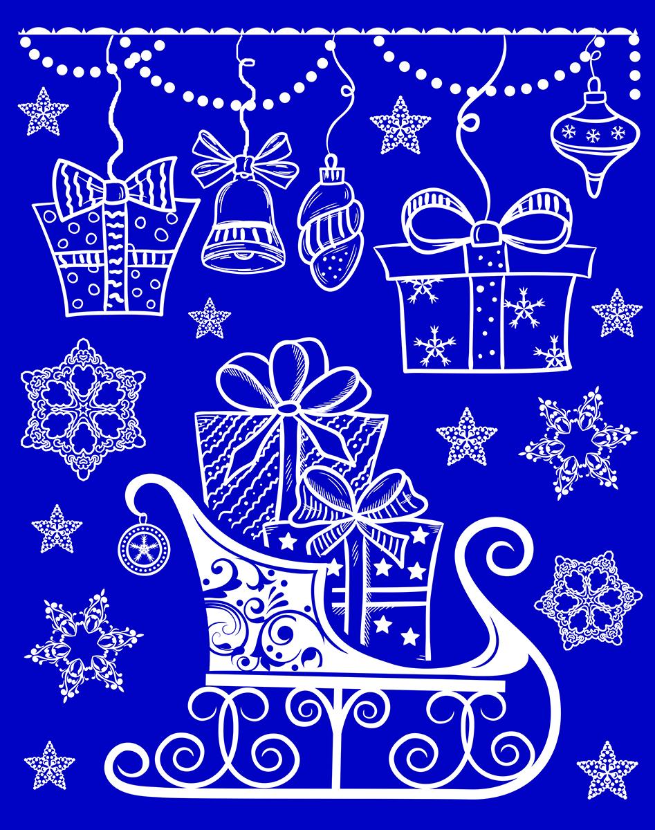 Украшение новогоднее оконное Magic Time. 4175541755Новогоднее оконное украшение из ПВХ пленки, декорировано глиттером; крепится к гладкой поверхности стекла посредством статического эффекта, 30х38см, артикул 41755
