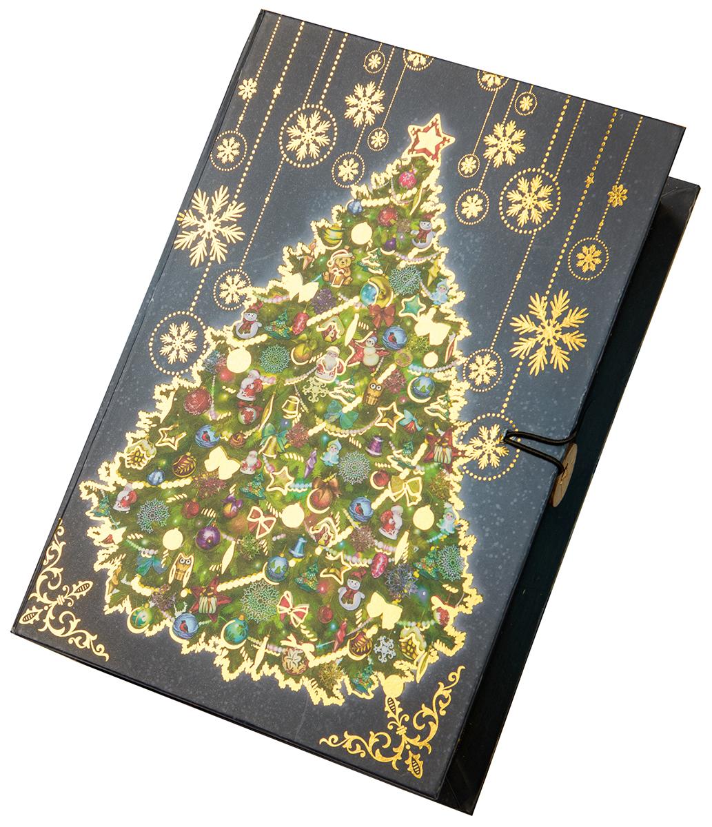 Коробка подарочная Magic Time Новогодняя ночь, размер M. 7502175021Подарочная коробка Новогодняя ночь-M из мелованного, ламинированного, негофрированного картона плотностью 1100 г, м2, с полноцветным декоративным рисунком на внутренней и наружной части, 20x14x6, артикул 75021