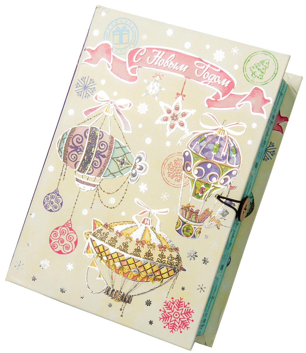 Коробка подарочная Magic Time Новогодние воздушные шары, размер M. 7502575025Подарочная коробка Новогодние воздушные шары-M из мелованного, ламинированного, негофрированного картона плотностью 1100 г, м2, с полноцветным декоративным рисунком на внутренней и наружной части, 20x14x6, артикул 75025