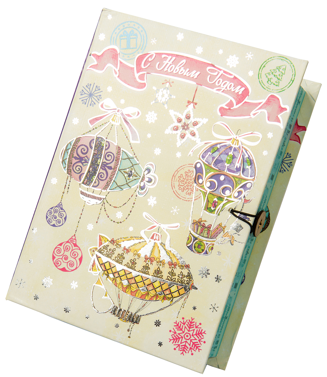 Коробка подарочная Magic Time Новогодние воздушные шары, размер S. 7502675026Подарочная коробка Новогодние воздушные шары-S из мелованного, ламинированного, негофрированного картона плотностью 1100 г, м2, с полноцветным декоративным рисунком на внутренней и наружной части, 18x12x5, артикул 75026