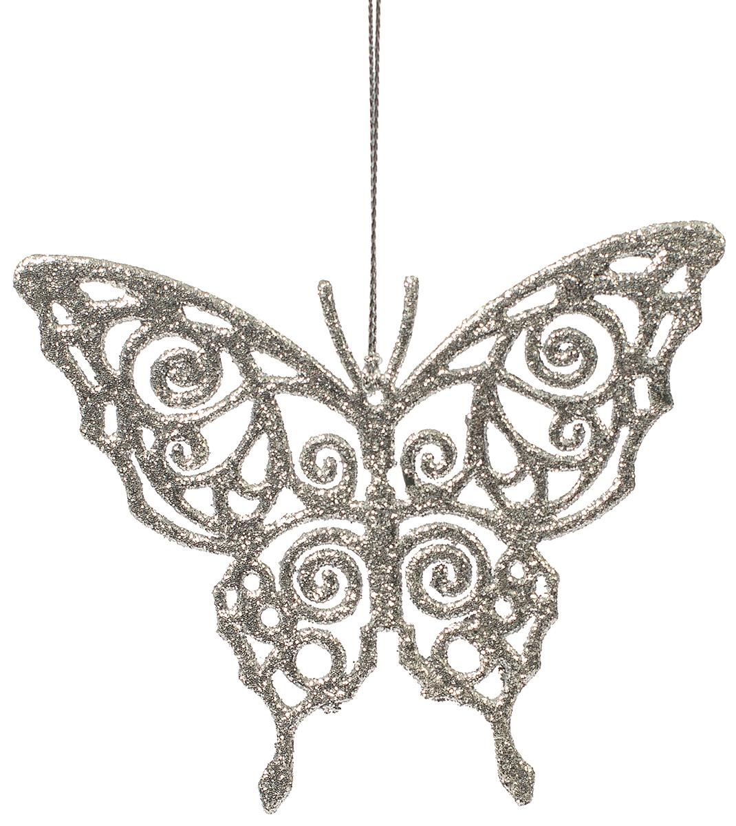 Украшение новогоднее елочное Magic Time Бабочка серебряная. 7507775077Новогоднее подвесное елочное украшение Бабочка серебряная из полипропилена, 11х9см, артикул 75077