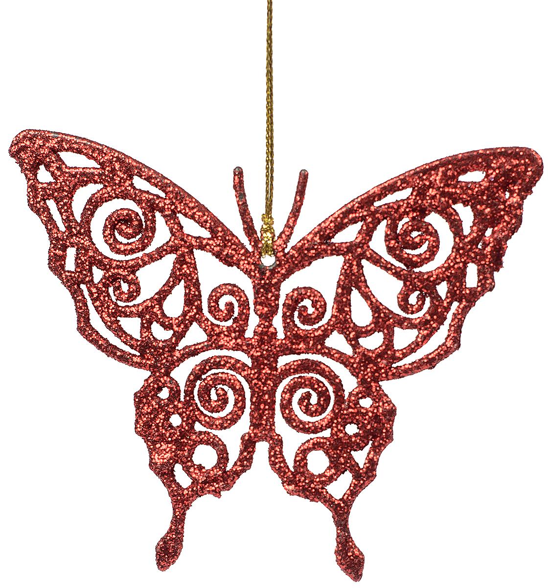 Украшение новогоднее елочное Magic Time Бабочка красная. 7507875078Новогоднее подвесное елочное украшение Бабочка красная из полипропилена, 11х9см, артикул 75078