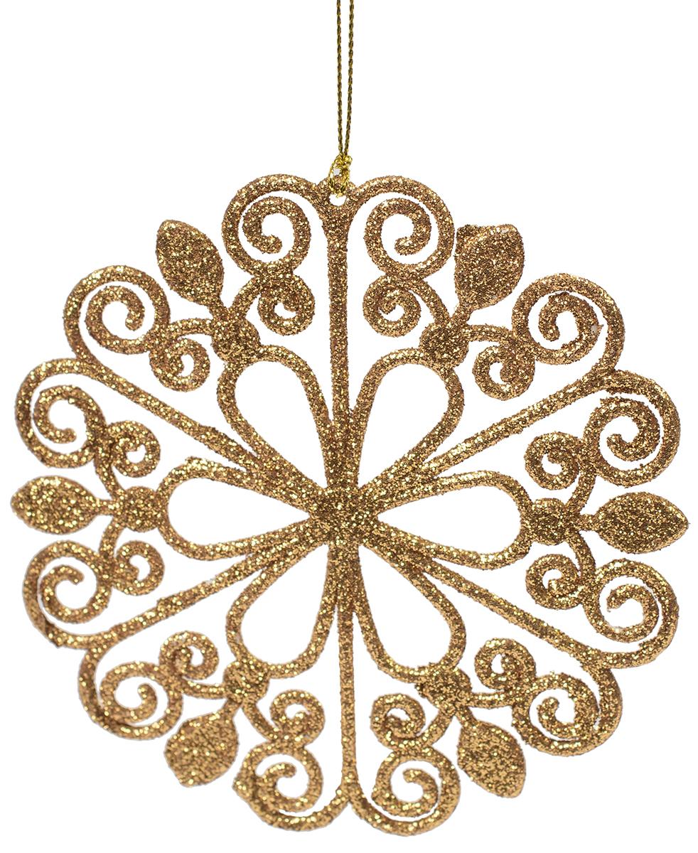 Новогоднее подвесное украшение Magic Time Цветок, цвет: золотой. 7510175101Новогоднее украшение Magic Time, выполненное из полипропилена, отлично подойдет для декорации вашего дома и новогодней ели. С помощью специальной петельки украшение можно повесить в любом понравившемся вам месте. Но, конечно, удачнее всего оно будет смотреться на праздничной елке.Елочная игрушка - символ Нового года. Она несет в себе волшебство и красоту праздника. Такое украшение создаст в вашем доме атмосферу праздника, веселья и радости.
