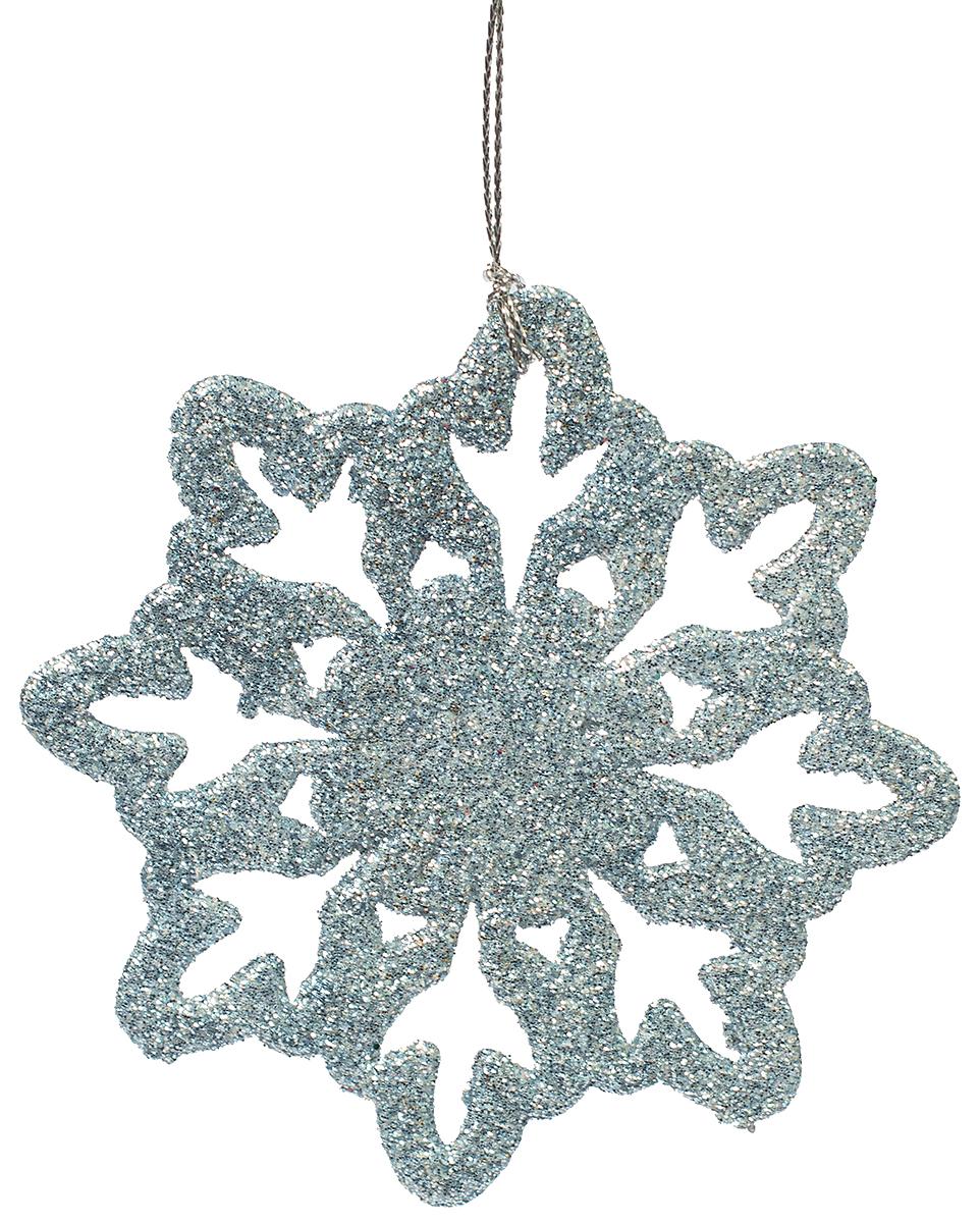 Украшение новогоднее елочное Magic Time Снежинка-цветочек голубая. 7510375103Новогоднее подвесное елочное украшение Снежинка-цветочек голубая из полипропилена, 10х10см, артикул 75103