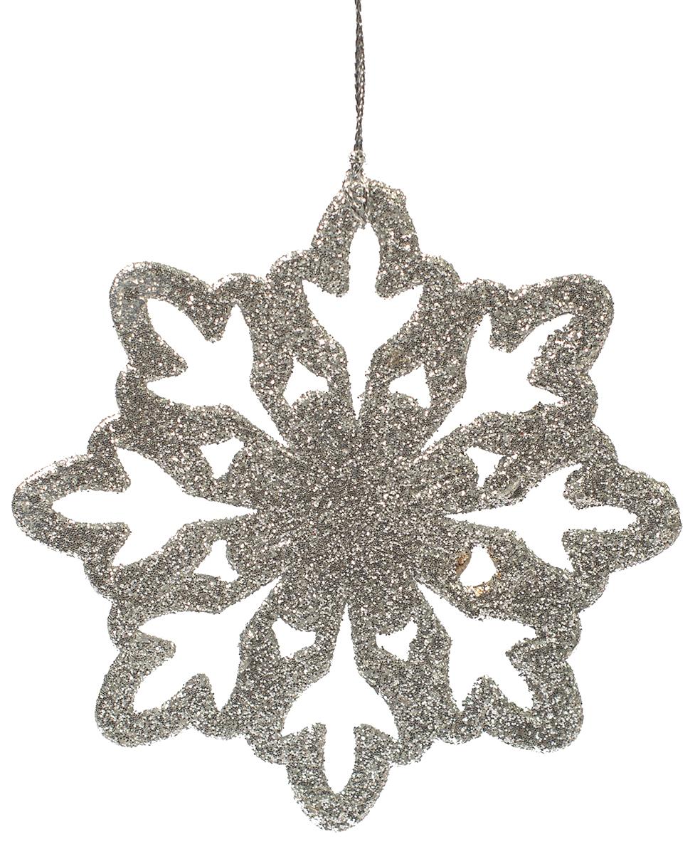 Украшение новогоднее елочное Magic Time Снежинка-цветочек серебряная. 7510475104Новогоднее подвесное елочное украшение Снежинка-цветочек серебряная из полипропилена, 10х10см, артикул 75104