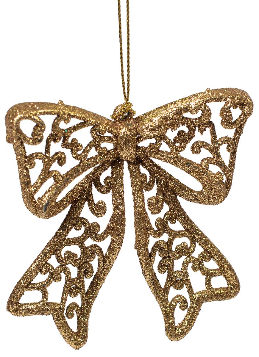 Новогоднее подвесное украшение Magic Time Бантик, цвет: золотой75114Новогоднее украшение Magic Time, выполненное из полипропилена, отлично подойдет для декорации вашего дома и новогодней ели. С помощью специальной петельки украшение можно повесить в любом понравившемся вам месте. Но, конечно, удачнее всего оно будет смотреться на праздничной елке.Елочная игрушка - символ Нового года. Она несет в себе волшебство и красоту праздника. Такое украшение создаст в вашем доме атмосферу праздника, веселья и радости.