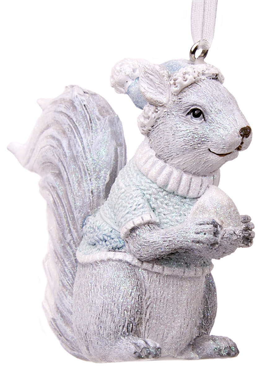 Украшение новогоднее елочное Magic Time Белочка в голубом свитере. 7514175141Новогоднее подвесное украшение Белочка в голубом свитере из полирезины, 8х2,5х6,5, артикул 75141