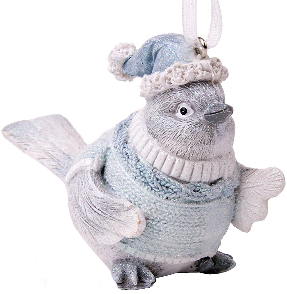 Украшение новогоднее подвесное Magic Time Птичка в голубом свитере. 7514275142Новогоднее подвесное украшение Птичка в голубом свитере из полирезины, 7,5х4х6, артикул 75142