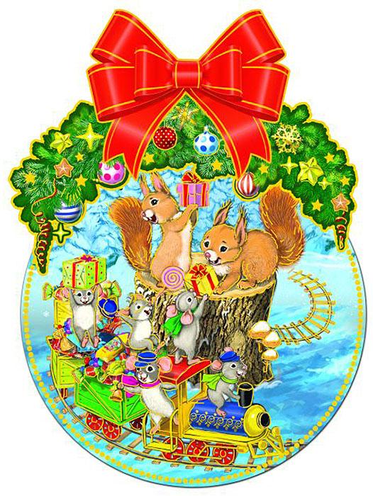 Украшение новогоднее оконное Magic Time Белочки, двустороннее, двухслойное75152Новогоднее оконное украшение Белочки выполнено из картона плотностью 300 г/м2, декорировано одноцветным глиттером. Размер: 27 x 36 см.