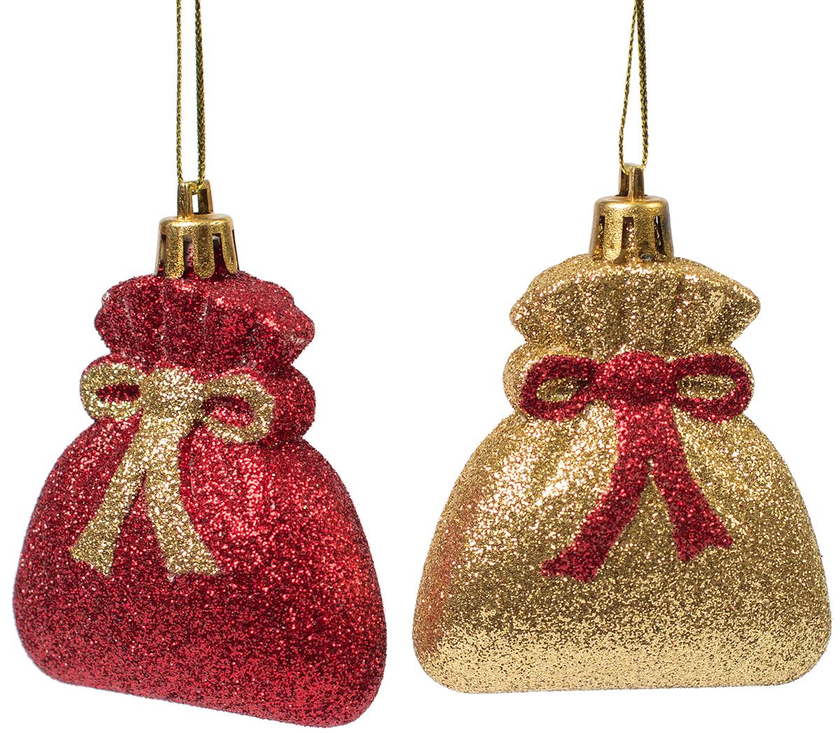 Украшение новогоднее подвесное Magic Time, 2 шт. 7545075450Новогоднее подвесное украшение из пластика (7х5,5 см), набор из 2 шт, 16x4см, артикул 75450