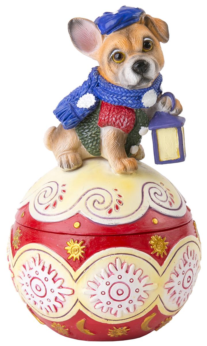 Шкатулка декоративная Magic Time Собака на шаре. 7554775547Декоративная шкатулка из полирезины СОБАКА НА ШАРЕ, 7,5x7,5x13 см, артикул 75547