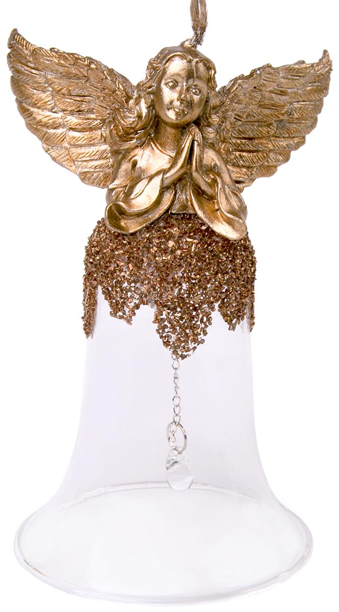"""Новогоднее подвесное украшение """"Колокольчик. Ангел"""" выполнено из стекла и полирезина."""