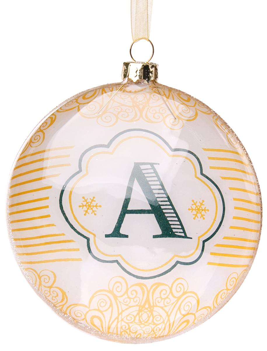 Украшение новогоднее подвесное Magic Time Буква А, стеклянное75822Новогоднее подвесное украшение, выполненное из стекла, в виде буквы А.