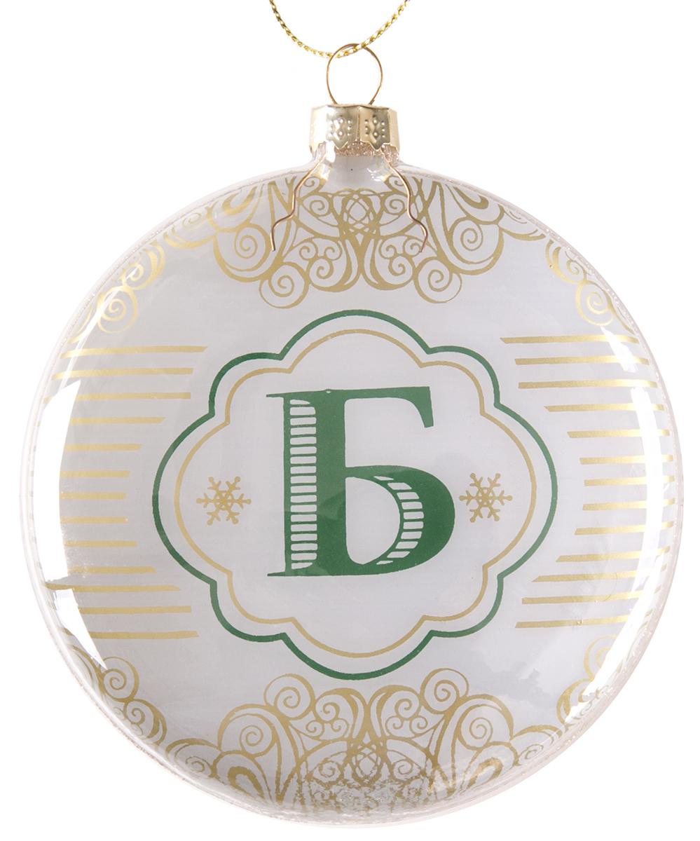 Украшение новогоднее подвесное Magic Time Буква Б, стеклянное75823Новогоднее подвесное украшение, выполненное из стекла, в виде буквы Б.