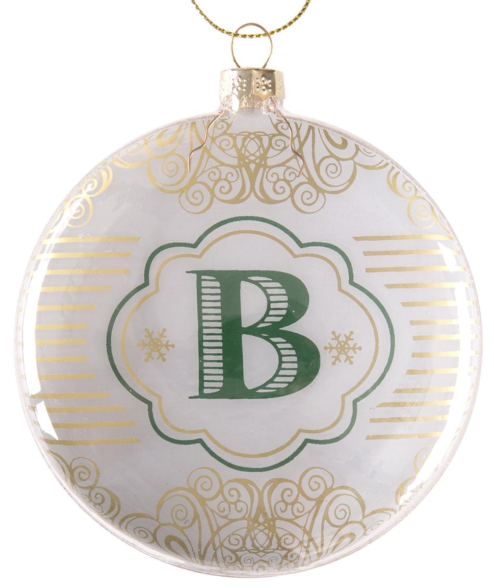Украшение новогоднее подвесное Magic Time Буква В, стеклянное75824Новогоднее подвесное украшение, выполненное из стекла, в виде буквы В.