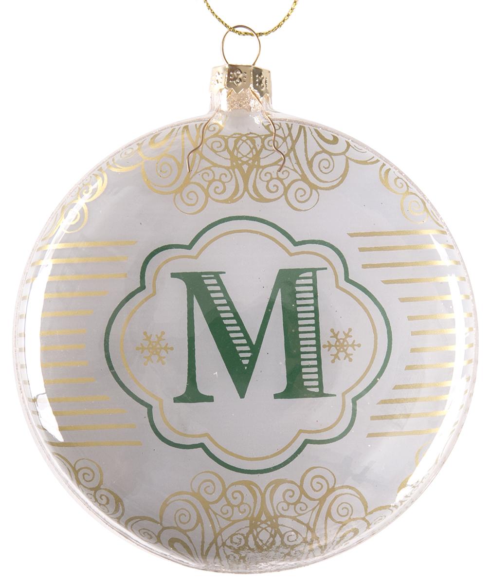 Украшение новогоднее подвесное Magic Time Буква М, стеклянное75832Новогоднее подвесное украшение, выполненное из стекла, в виде буквы М.