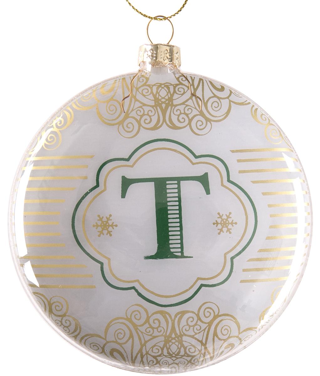 Украшение новогоднее подвесное Magic Time Буква Т, стеклянное75838Новогоднее подвесное украшение, выполненное из стекла, в виде буквы Т.