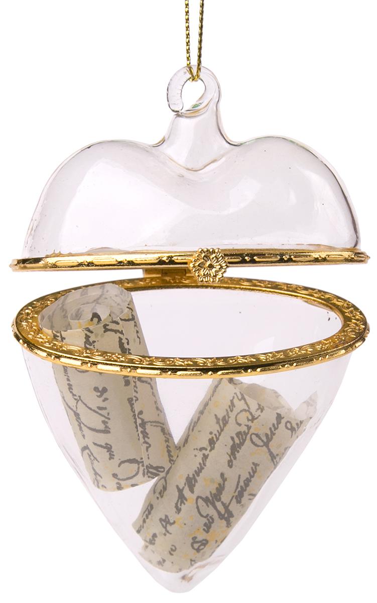 Украшение новогоднее подвесное Magic Time Сердце, с пожеланием внутри. 7584475844Новогоднее подвесное украшение из стекла с пожеланием внутри СЕРДЦЕ, 5x10 см, артикул 75844