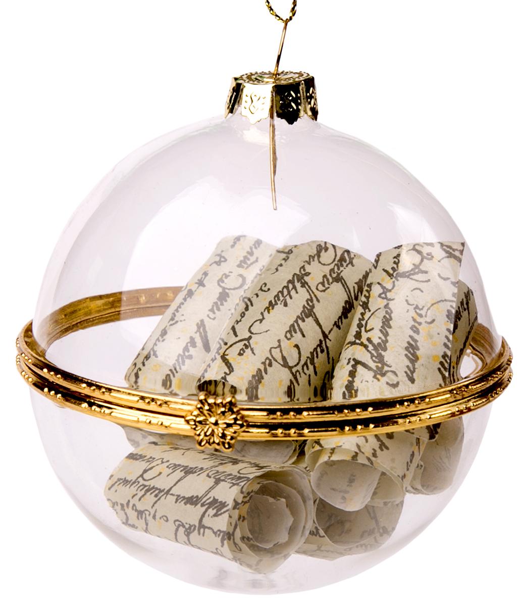 Новогоднее подвесное украшение Magic Time Шар, с пожеланием внутри75845Новогоднее украшение Magic Time, выполненное из стекла, отлично подойдет для декорации вашего дома и новогодней ели. С помощью специальной петельки украшение можно повесить в любом понравившемся вам месте. Но, конечно, удачнее всего оно будет смотреться на праздничной елке.Елочная игрушка - символ Нового года. Она несет в себе волшебство и красоту праздника. Такое украшение создаст в вашем доме атмосферу праздника, веселья и радости.