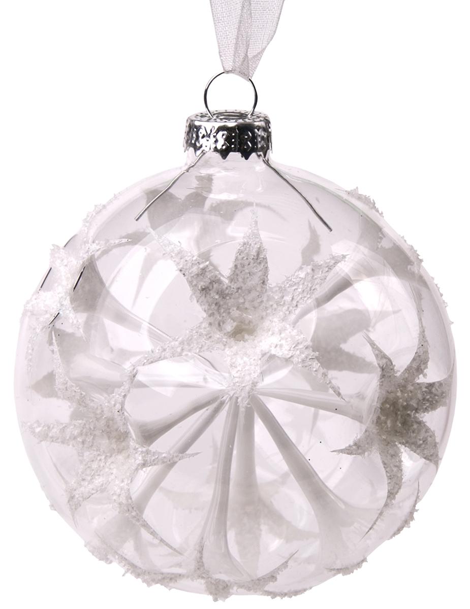 Новогоднее подвесное украшение Magic Time Шар. Белые цветы, диаметр 8 см75846Новогоднее украшение Magic Time, выполненное из стекла, отлично подойдет для декорации вашего дома и новогодней ели. С помощью специальной петельки украшение можно повесить в любом понравившемся вам месте. Но, конечно, удачнее всего оно будет смотреться на праздничной елке.Елочная игрушка - символ Нового года. Она несет в себе волшебство и красоту праздника. Такое украшение создаст в вашем доме атмосферу праздника, веселья и радости.