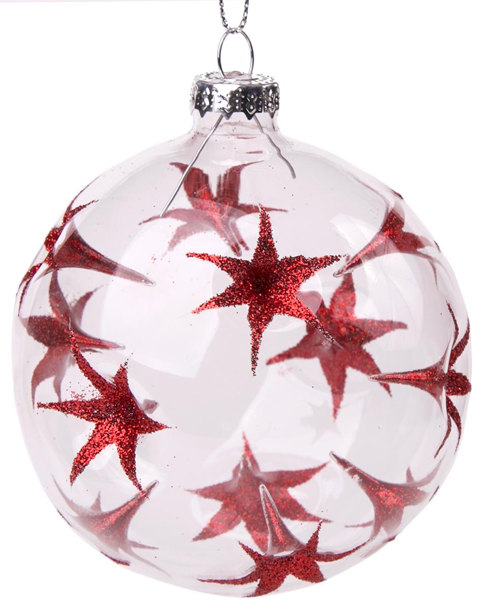 Украшение новогоднее елочное Magic Time Шар. Красные цветы, диаметр 8 см. 7584775847Новогоднее подвесное украшение - шар из стекла КРАСНЫЕ ЦВЕТЫ, 8 см, артикул 75847