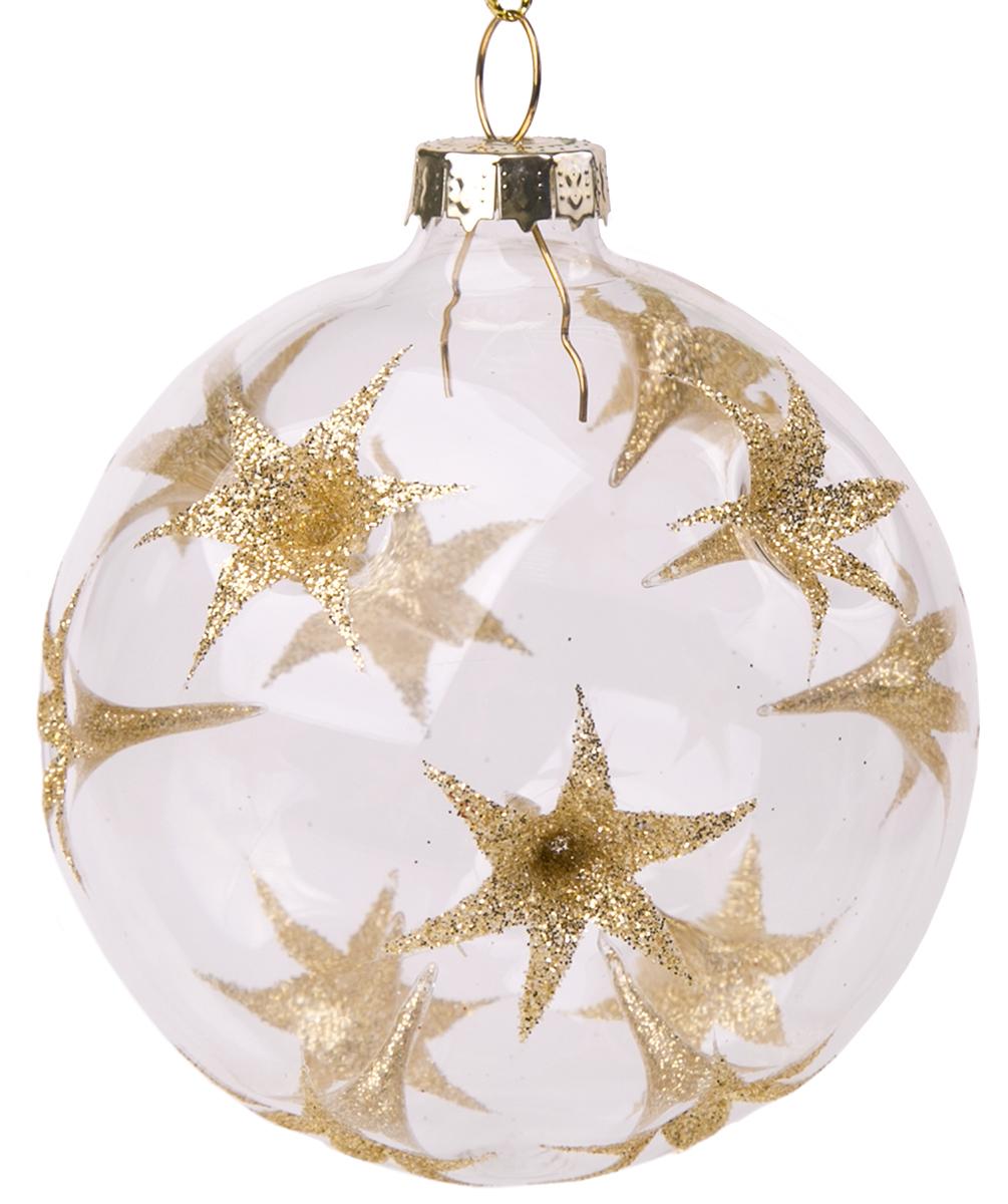 Новогоднее подвесное украшение Magic Time Шар. Золотые цветы, диаметр 8 см75848Новогоднее украшение Magic Time, выполненное из стекла, отлично подойдет для декорации вашего дома и новогодней ели. С помощью специальной петельки украшение можно повесить в любом понравившемся вам месте. Но, конечно, удачнее всего оно будет смотреться на праздничной елке.Елочная игрушка - символ Нового года. Она несет в себе волшебство и красоту праздника. Такое украшение создаст в вашем доме атмосферу праздника, веселья и радости.