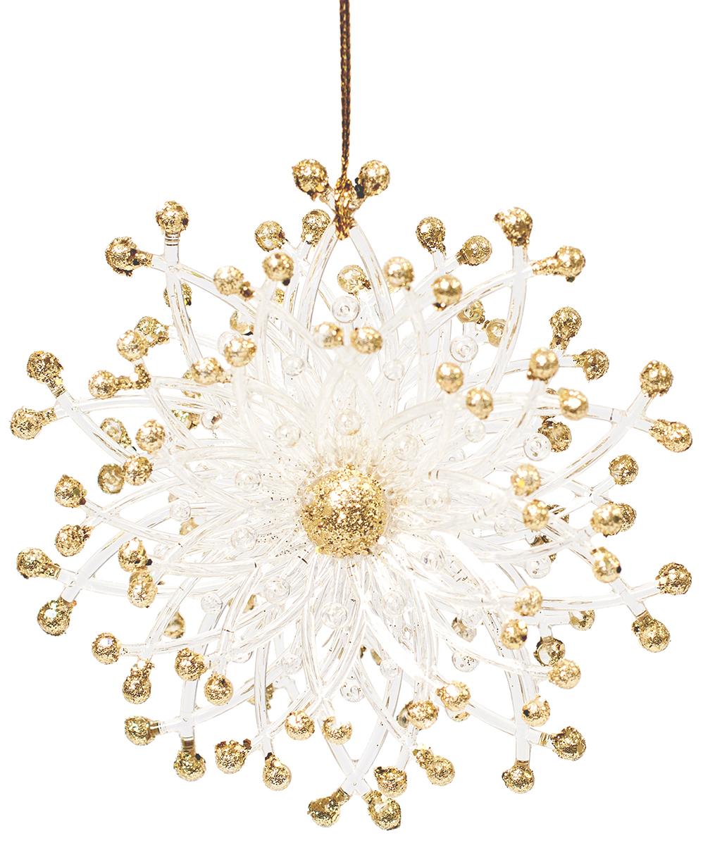 Новогоднее подвесное украшение Magic Time Цветок, цвет: золотой, белый. 7595875958Новогоднее украшение Magic Time, выполненное из полистирола, отлично подойдет для декорации вашего дома и новогодней ели. С помощью специальной петельки украшение можно повесить в любом понравившемся вам месте. Но, конечно, удачнее всего оно будет смотреться на праздничной елке.Елочная игрушка - символ Нового года. Она несет в себе волшебство и красоту праздника. Такое украшение создаст в вашем доме атмосферу праздника, веселья и радости.