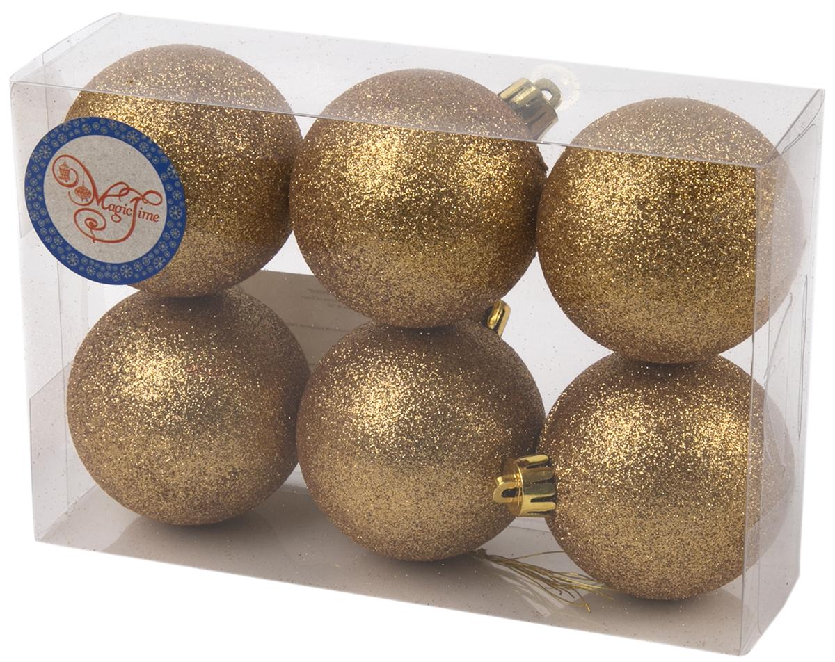 Украшение новогоднее елочное Magic Time Шар. Блеск золотой, 6 шт. 7599275992Новогоднее подвесное украшение Шар Блеск золотой из полистирола. Набор из 6 шт, 6см, артикул 75992