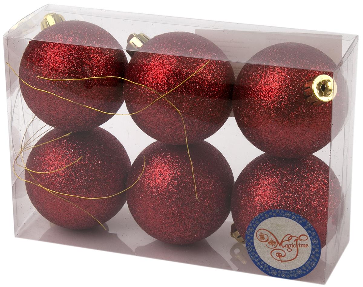 Украшение новогоднее елочное Magic Time Шар. Блеск красный, 6 шт. 7599375993Новогоднее подвесное украшение Шар Блеск красный из полистирола. Набор из 6 шт, 6см, артикул 75993