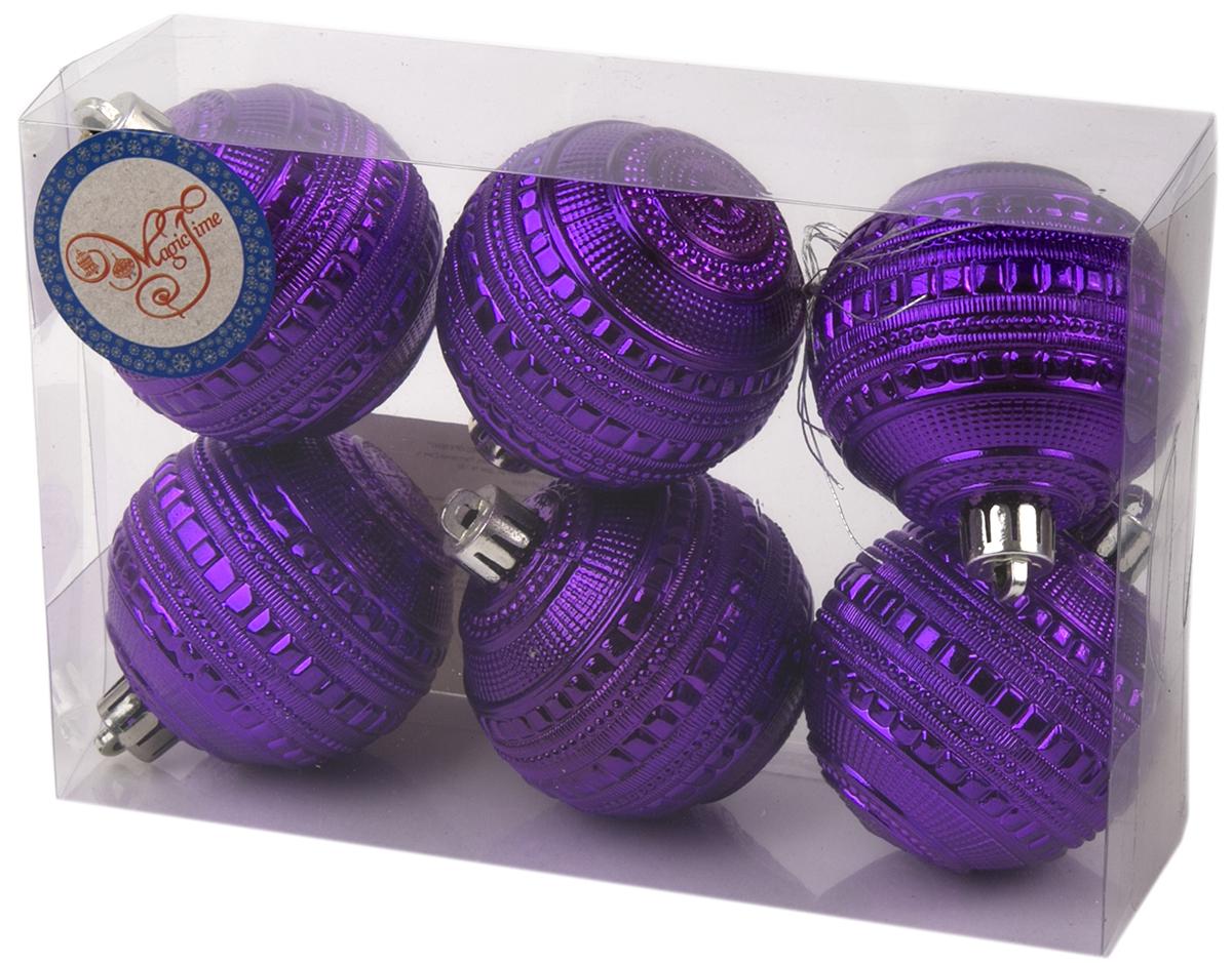 Набор новогодних подвесных украшений Magic Time Шар. Сатурн, цвет: фиолетовый, 6 шт75996Новогоднее украшение Magic Time, выполненное из полистирола, отлично подойдет для декорации вашего дома и новогодней ели. С помощью специальной петельки украшение можно повесить в любом понравившемся вам месте. Но, конечно, удачнее всего оно будет смотреться на праздничной елке.Елочная игрушка - символ Нового года. Она несет в себе волшебство и красоту праздника. Такое украшение создаст в вашем доме атмосферу праздника, веселья и радости.В наборе 6 подвесных украшений.