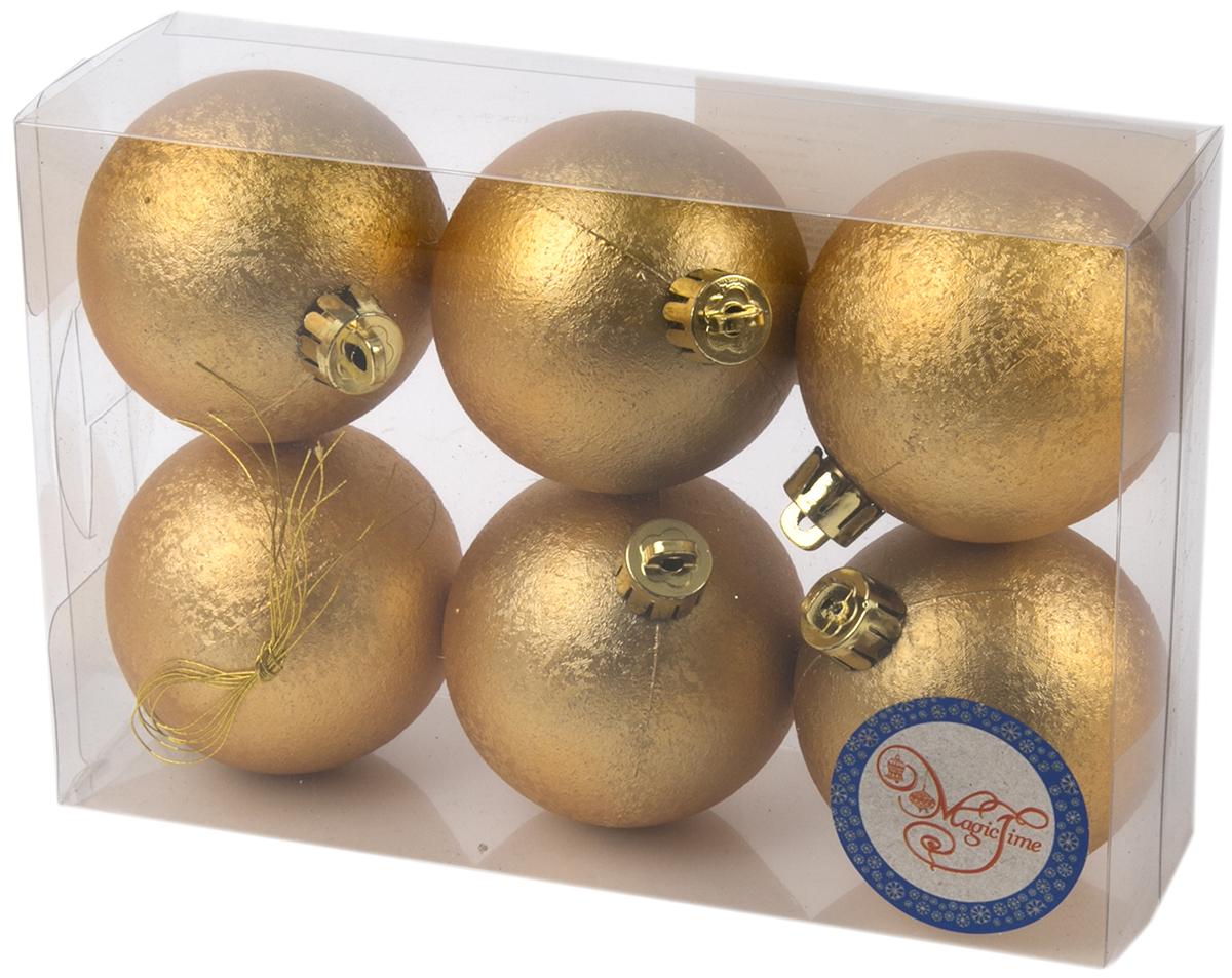 Украшение новогоднее елочное Magic Time Шар. Зима золотой, 6 шт. 7600776007Новогоднее подвесное украшение Шар Зима золотой из полистирола. Набор из 6 шт, 6см, артикул 76007