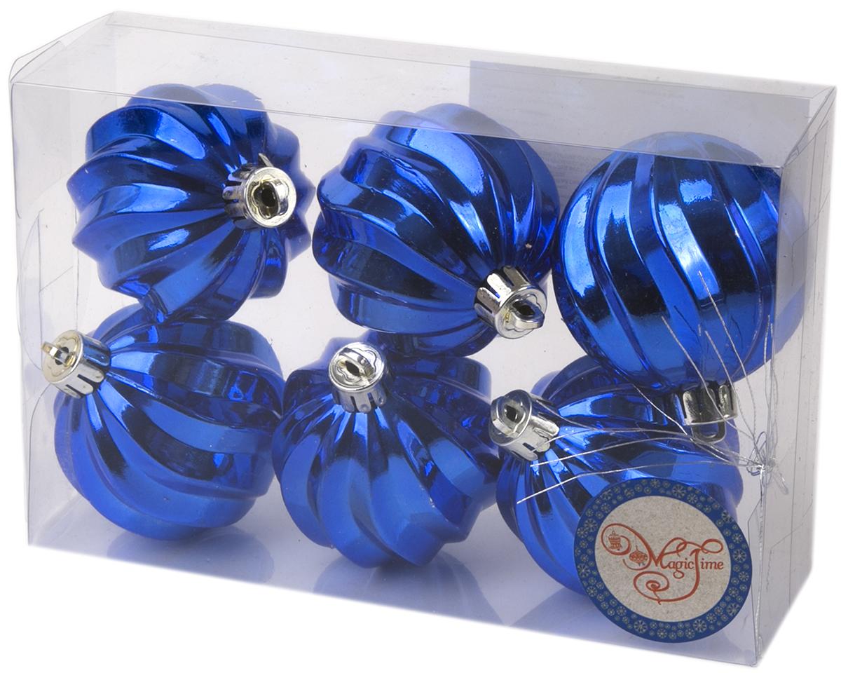 Украшение новогоднее елочное Magic Time Шар. Волны синий, 6 шт. 7601276012Новогоднее подвесное украшение Шар Волны синий из полистирола. Набор из 6 шт, 6см, артикул 76012